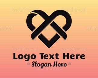 Dating - Wedding Ribbon Heart logo design