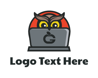 Blogger - Owl Laptop logo design