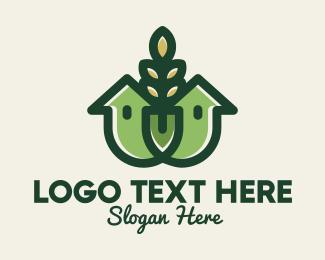 Crops Field - Organic Wheat House logo design