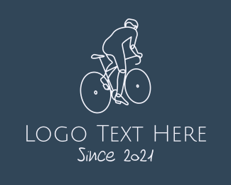 Ride - Monoline Cyclist Rider logo design