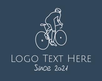 Bike Tour - Monoline Cyclist Rider logo design