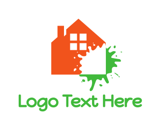 Splatter - Orange House Splatter  logo design