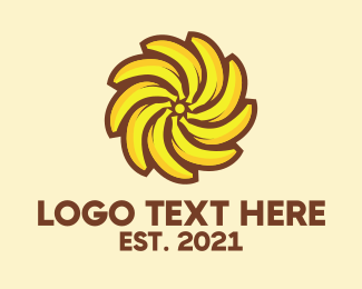 Yellow Banana - Banana Sun logo design