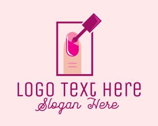 Pink Nail Polish Manicure Logo