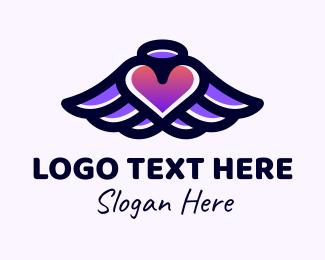 Social Media - Halo Heart Wings logo design