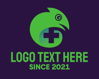 Chameleon - Lizard Health Cross logo design