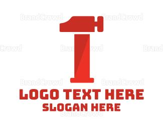 Demolish - Red Hammer Number 1 logo design