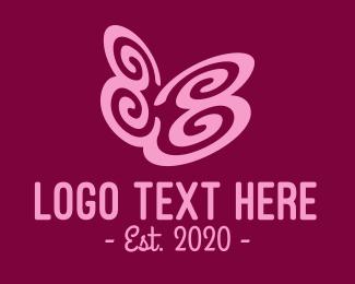 Wellness Center - Pink Butterfly Garden logo design
