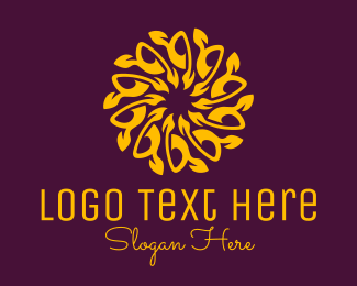 Massage Therapy - Orange Mandala Sunflower logo design