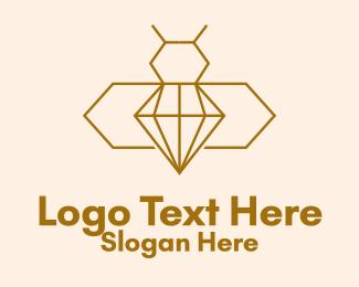 Gem Stone - Minimalist Diamond Bee  logo design