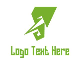 Elephant - Green Elephant  logo design