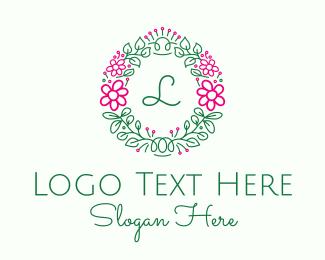Doodle - Floral Doodle Wreath  logo design