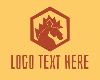 Horse Farm - Red Horse Hexagon logo design