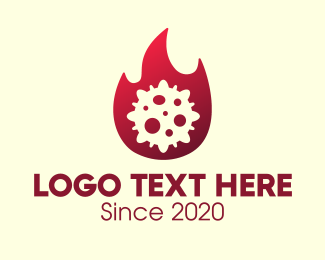 Fire - Red Fiery Virus logo design