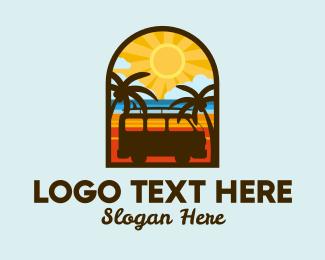 Road Trip - Summer Van Badge logo design