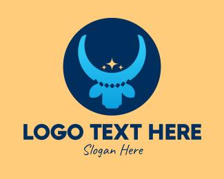 Cow - Blue Cow Royalty  logo design