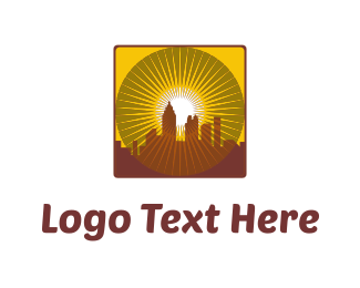 Tower - Yellow City Sunset logo design