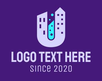 Test Tube - City Laboratory Letter U logo design