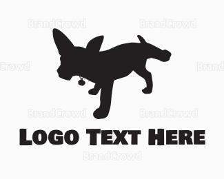 Dog Walking - Black Dog Silhouette logo design