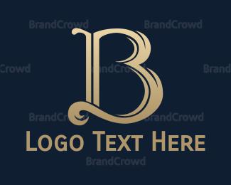 Resort - Gold Cursive B logo design