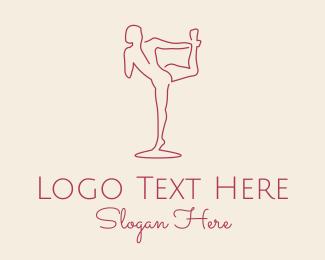 Stretching - Red Monoline Yoga logo design