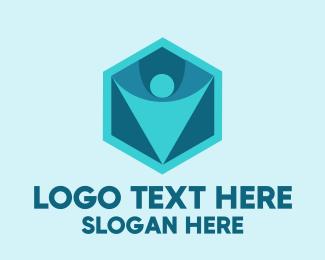 Person - Blue Person Hexagon logo design