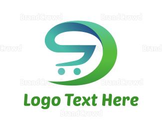 Store - Green Shopping Cart  logo design