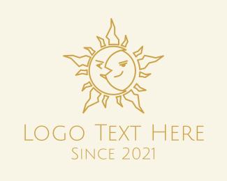 Spirituality - Merged Moon and Sun  logo design