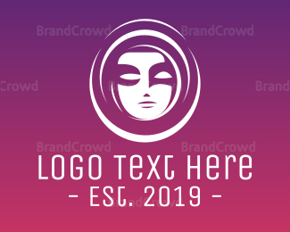 Lady - Circle Silhouette Face logo design
