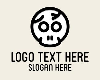 Costume - Cracked Skull Halloween logo design