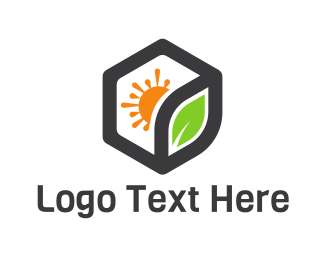 Geothermal Energy - Hexagon Sun Leaf logo design