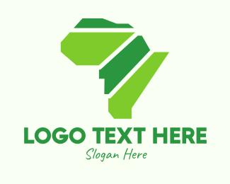 Africa Map - Green African Map logo design