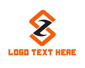 Lettermark Z - Modern Red Orange Letter S logo design