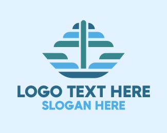 Sailboat - Ocean Sailing Anchor Boat logo design