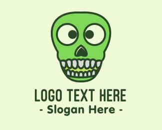 Spooky - Green Spooky Skull  logo design