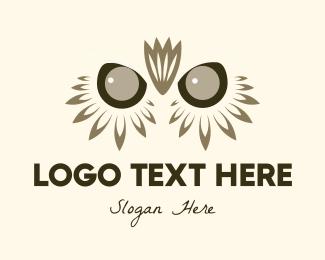 Purple Owl - Owl & Flower logo design