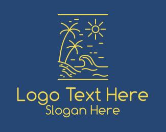 Motel - Beach Surf Outline logo design