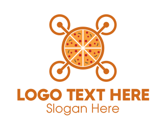 Fastfood - Pizza Food Drone logo design