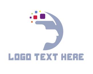 Blue Crescent - Crescent Pixel VR logo design