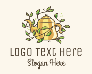 Tea - Kettle Teapot Tea Leaves logo design