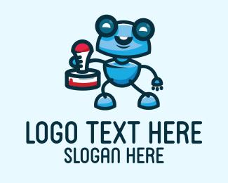 Blue Stamp Robot Mascot Logo