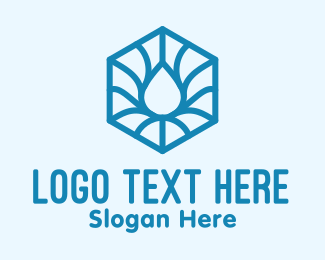 Wet - Blue Abstract Water Hexagon logo design