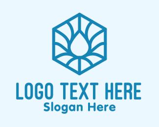 Element - Blue Abstract Water Hexagon logo design