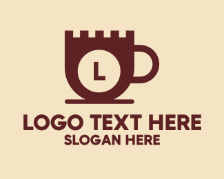 Coffee Maker - Castle Coffee Cup Lettermark logo design