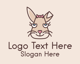 Rabbit Ears - Girl Bunny Face  logo design