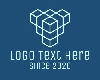 Geometric Hexagon - Blue Geometric Cube logo design