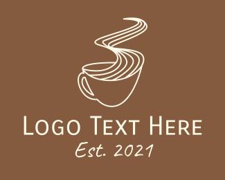 Coffee Time - Hot Coffee Line Art logo design