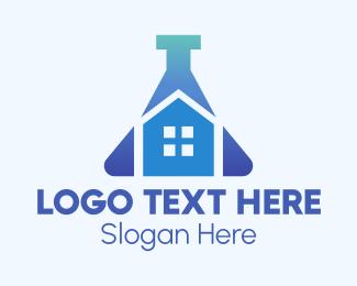 Science Lab - Blue Home Laboratory logo design