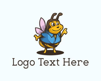 Honeybee - Cute Wasp logo design