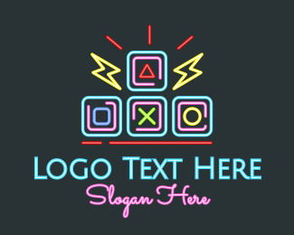 Game Developer - Neon Arcade Retro Gaming logo design